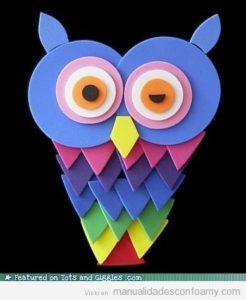 foam-owl-buho-colores-manualidades-foamy-goma-eva